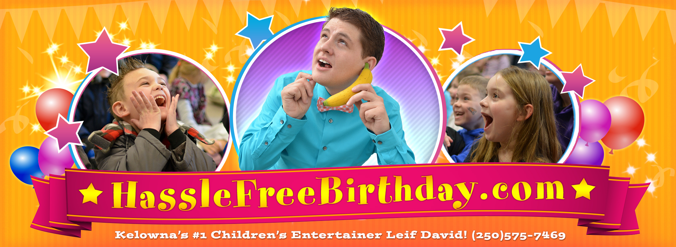 Kelowna Kids Birthday Party Magician Leif David Retina Logo
